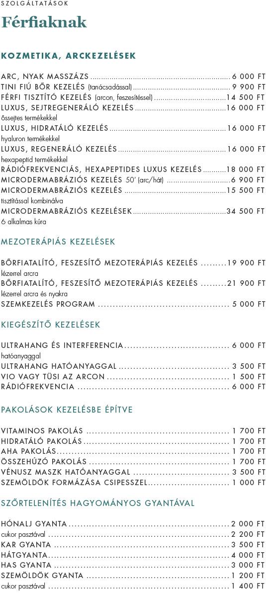 Kozmetika árak